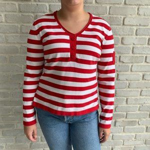 Tommy Hilfiger Red White Striped Sweater